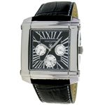 LNCIANO VALENTINO(ルチアノ バレンチノ) マルチファンクション 腕時計 LV-1025-01/ シルバーケース・ブラック(シルバー)、黒ベルト