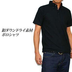 釦ダウンドライ素材ポロシャツ ブラック L