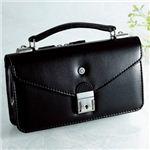 【日本製】家紋付 礼装多機能バッグ (小) 鍵付◆丸に右三つ巴 backs-31