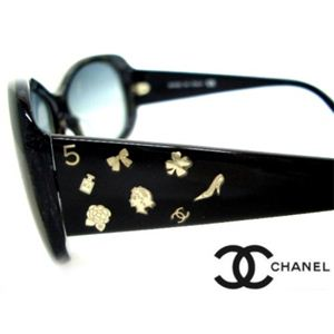 CHANEL(シャネル) サングラス CH5123A-84511 ブルー系グレーマーブル×ブラック×シルバーチャーム