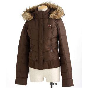 HOLLISTER(ホリスター)フードファー付きダウンジャケット ブラウン Mサイズ