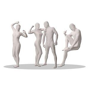全身タイツ/コスプレ衣装 【パンテックス ホワイト Lサイズ】 メンズ180cm迄 連体服 顔カバー付き 『透明人間』