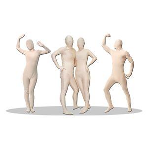 全身タイツ/コスプレ衣装 【パンテックス ベージュ Lサイズ】 メンズ180cm迄 連体服 顔カバー付き 『透明人間』