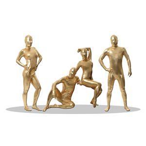 全身タイツ/コスプレ衣装 【コーティング ゴールド Lサイズ】 メンズ180cm迄 連体服 顔カバー付き 『透明人間』