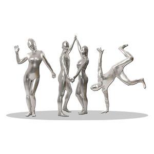 全身タイツ/コスプレ衣装 【コーティング シルバー Lサイズ】 メンズ180cm迄 連体服 顔カバー付き 『透明人間』
