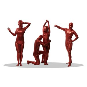 全身タイツ/コスプレ衣装 【コーティング レッド Lサイズ】 メンズ180cm迄 連体服 顔カバー付き 『透明人間』