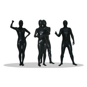 全身タイツ/コスプレ衣装 【コーティング ブラック Lサイズ】 メンズ180cm迄 連体服 顔カバー付き 『透明人間』