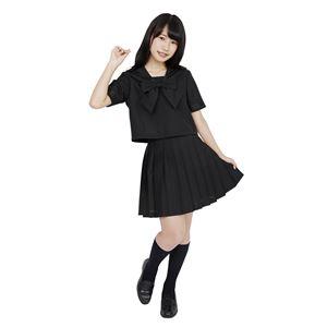 制服/コスプレ衣装 【ブラック 4Lサイズ】 洗える セーラーブラウス リボン スカート付き ポリエステル 『カラーセーラー』