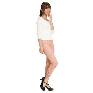 ウルトラフィット美脚パンツ 【裾ギャザー ピンク Lサイズ】 ウエスト68cm〜75cm 洗える ストレッチ素材 ウエストゴム