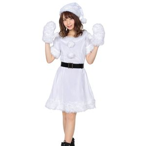 【クリスマスコスプレ 衣装】 カラフルサンタ レディース ホワイト
