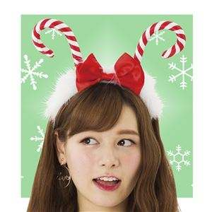 【クリスマスコスプレ 衣装】 キャンディケインカチューシャ