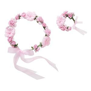 花かんむり&バングルセット ピンク