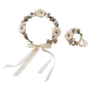 花かんむり&バングルセット ブラウンベージュ