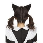 猫耳カチューシャ ふせ耳 黒×ピンク