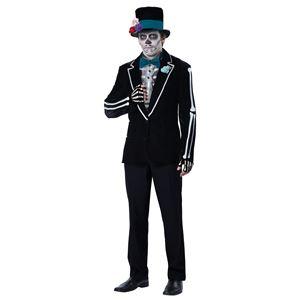 コスプレ衣装/コスチューム California Costumes EL NOVIO MUERTO / ADULT 【ジャケット・ハット・蝶ネクタイ付きノースリーブシャツ・指開きグローブ・フラワーピン・フェイスタトゥー】