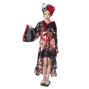 和風 コスプレ衣装/コスチューム 【着物 花柄/黒】 Ladies/身長:155〜165cm 『花鳥風月』