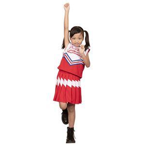 コスプレ衣装/コスチューム 【チアガール 120cmサイズ レッド】 子供用 ハロウィン おままごと お遊戯会 『キッズジョブ』