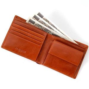 BALENCIAGA レザー2つ折り財布 BANA05 キャメル