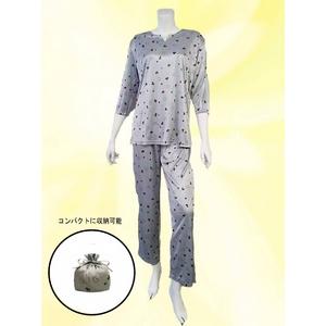 旅行用 仔犬柄 コンパクトパジャマ(7分袖・グレー・M)