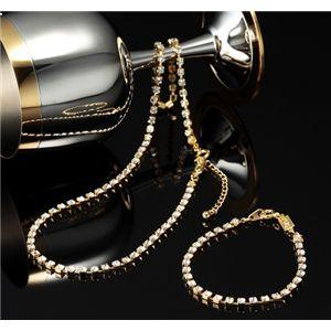 スワロフスキークリスタルガラス テニスブレス(ブレスレット)&ネックレスセット 3500-ゴールド