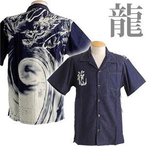 抜染デニムアロハシャツ 龍 M