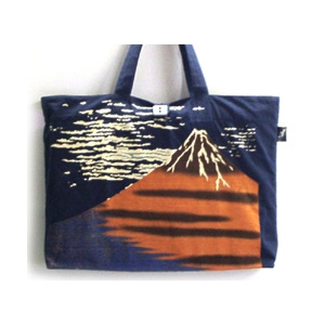 抜染和柄キャンパスバッグ 赤富士