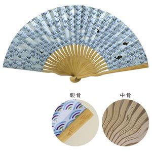 komon+ 和紙扇子70型25間【3本セット】青海波クジラ