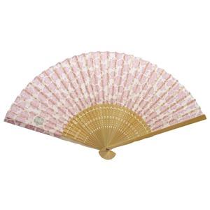 薔薇モチーフ 布扇子70型30問【5本セット】ピンク