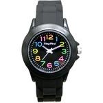 ベルト穴式 レディースラバーウォッチ【腕時計】【カラフルブラック】【2本セット】