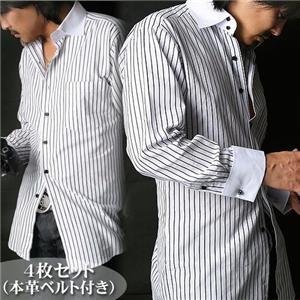 シーン別コーディネイトドレスシャツ4枚組(本革ベルト付き) 4種アソート Lセット