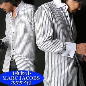 【シーン別コーディネイト】こだわりドレスシャツ4枚セット(MARC JACOBSネクタイ付き!) M