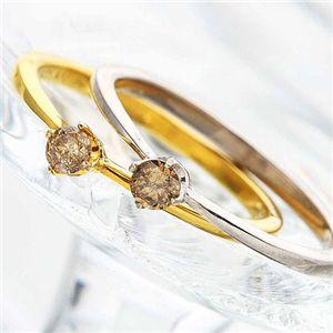 【訳あり・在庫処分】 シャンパンカラーダイヤリング 指輪 0.1ct 2061-SV/ゴールド 5号