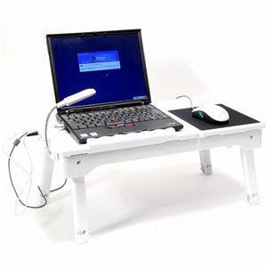 多機能ラップトップテーブル with LEDライト ホワイト