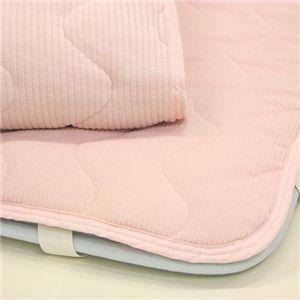 ストライプ柄フリース敷パッド お得な同色2枚組 ピンク
