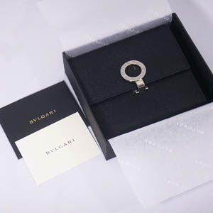 BVLGARI(ブルガリ) #23277 Woman wallet 2 folds with clip Grain leather black/P.