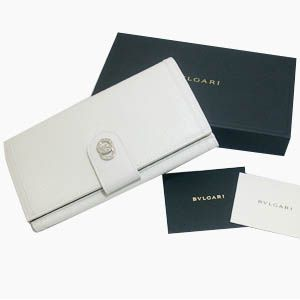 BVLGARI(ブルガリ) #25223 Woman wallet 8 CC with internal zip and flap Goat leather chalk/calf leather chalk/P