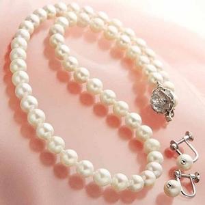 あこや真珠 6.5-7mm 2点セット(パールネックレス1点、ぶら下がりパールイヤリング1点 計2点セット) 【本真珠】