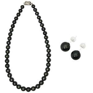 【訳あり・在庫処分】【鑑別付】タヒチ産真珠 T-1 8〜10mm ネックレス+ピアスセット(ケース付)