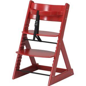ベビーチェア/キッズチェア(グローアップチェアー) 高さ調整可 レッド(赤)【組立品】