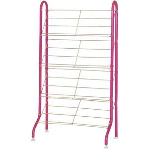 シューズラック(靴立て) スチール スリム 【8足まで収納可】 幅54cm ピンク