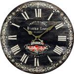アンティーク調ウォールクロック(壁掛け時計) ローズ柄 ブラック (インテリア雑貨)