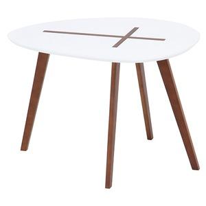 北欧風 サイドテーブル/ローテーブル 【幅60cm ホワイト】 木製 『クローセ』 〔リビング〕