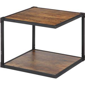 北欧風 サイドテーブル/ローテーブル 【幅50cm ブラウン】 収納棚付き 『クルト』