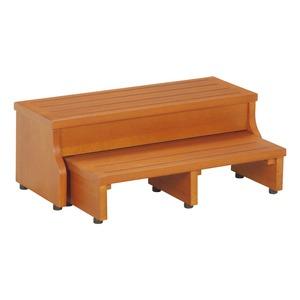 スライド式 ステップ/玄関台 【2段】 ブラウン 幅60cm 下段収納可 脚付き 木製 『フィット』