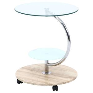 ガラス製ラウンドテーブル/サイドテーブル 【ナチュラル】 幅50cm 円形 キャスター付き 強化ガラス製天板 棚板付き 『マーブル』