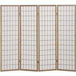 4折障子スクリーン(パーテーション/衝立) 4連 【ナチュラル】 高さ150cm