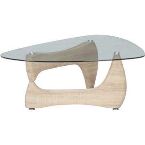 ガラス製センターテーブル/ローテーブル 【ホワイトオーク】 幅100cm 強化ガラス製天板 『ルーク』