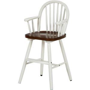 アンティーク風 ウィンザーベビーチェア/ベビー用品 【ホワイト】 幅39cm 肘掛け付き 木製