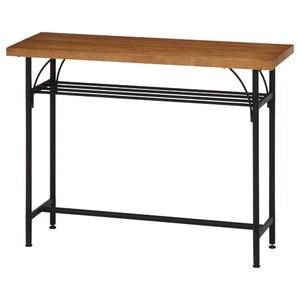 北欧風 カウンターテーブル/ダイニングテーブル 【幅110cm ブラウン】 スチールフレーム 収納棚付き 『レアル』