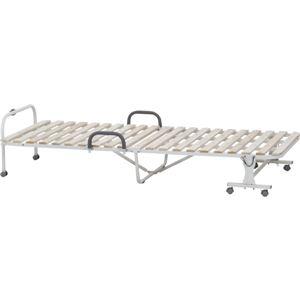桐製 ワンタッチ式すのこベッド 【シングル 幅98cm ナチュラル×ホワイト】 折りたたみ 通気性良好 取っ手 キャスター付き 木製